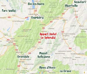 MAP Allevard, nearby Appart Hotel Le Splendid holiday resort, Alps region nearby Grenoble